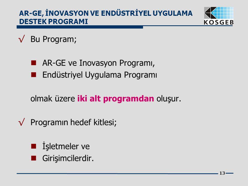 AR-GE ve Inovasyon Programı, Endüstriyel Uygulama Programı