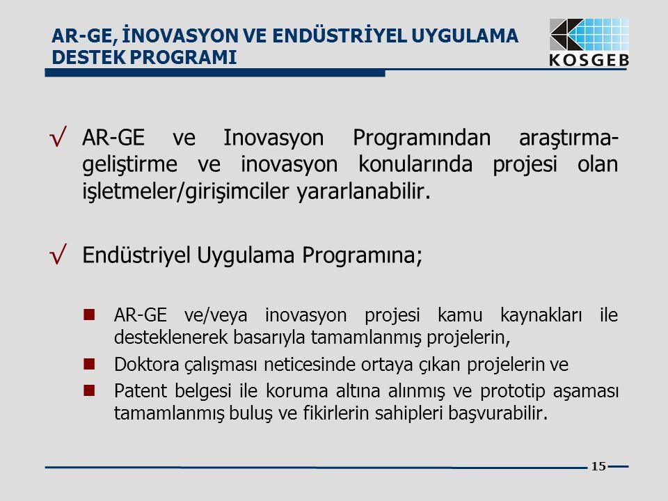 Endüstriyel Uygulama Programına;