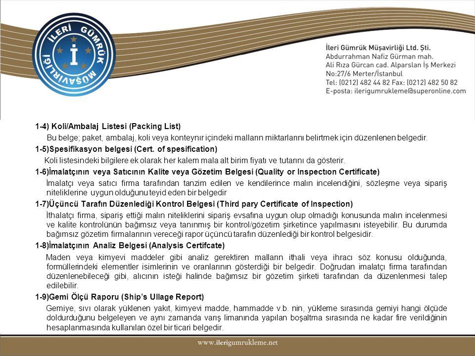 1-4) Koli/Ambalaj Listesi (Packing List) Bu belge; paket, ambalaj, koli veya konteynır içindeki malların miktarlarını belirtmek için düzenlenen belgedir.