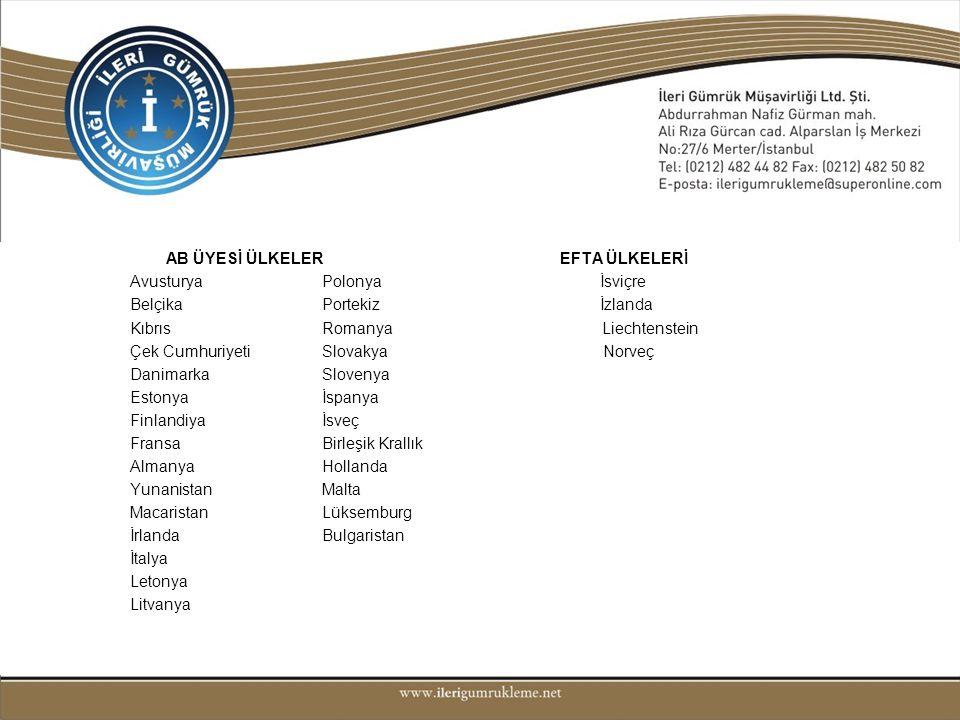AB ÜYESİ ÜLKELER EFTA ÜLKELERİ Avusturya Polonya İsviçre