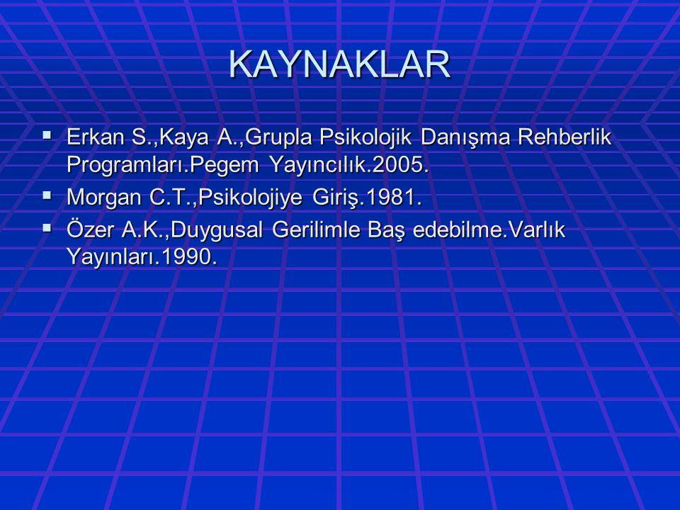 KAYNAKLAR Erkan S.,Kaya A.,Grupla Psikolojik Danışma Rehberlik Programları.Pegem Yayıncılık.2005. Morgan C.T.,Psikolojiye Giriş.1981.