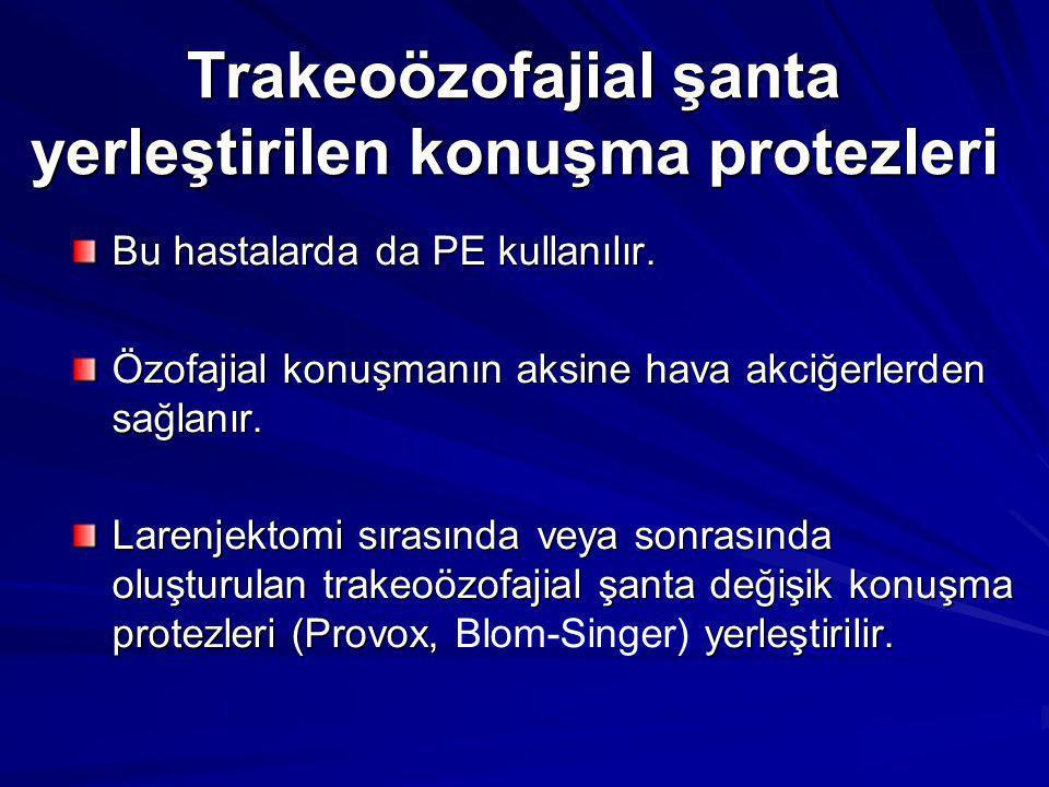 Trakeoözofajial şanta yerleştirilen konuşma protezleri