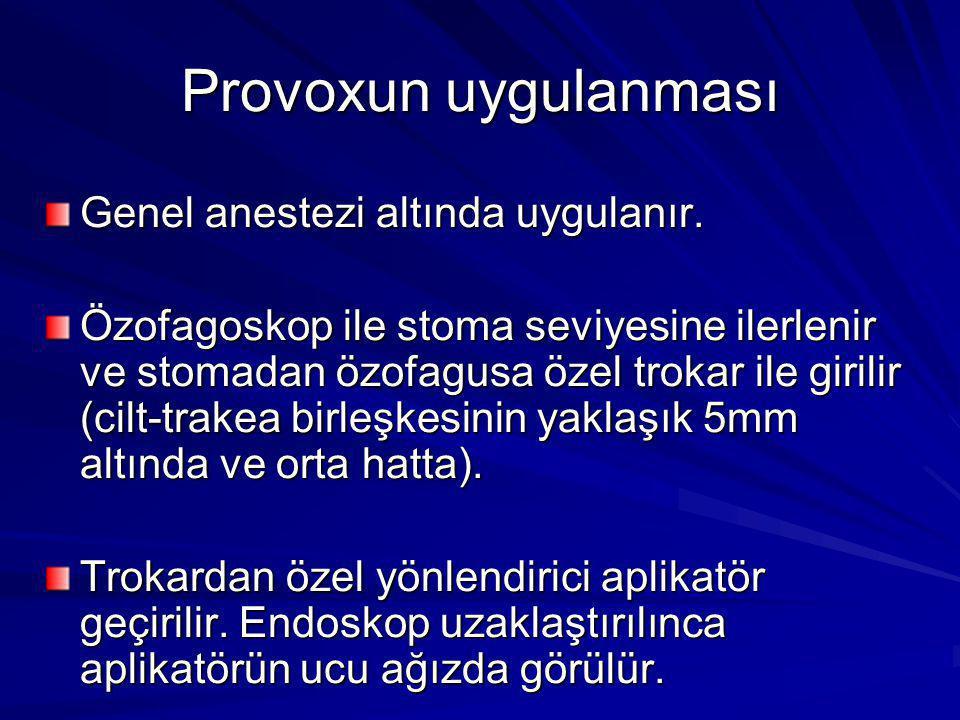 Provoxun uygulanması Genel anestezi altında uygulanır.