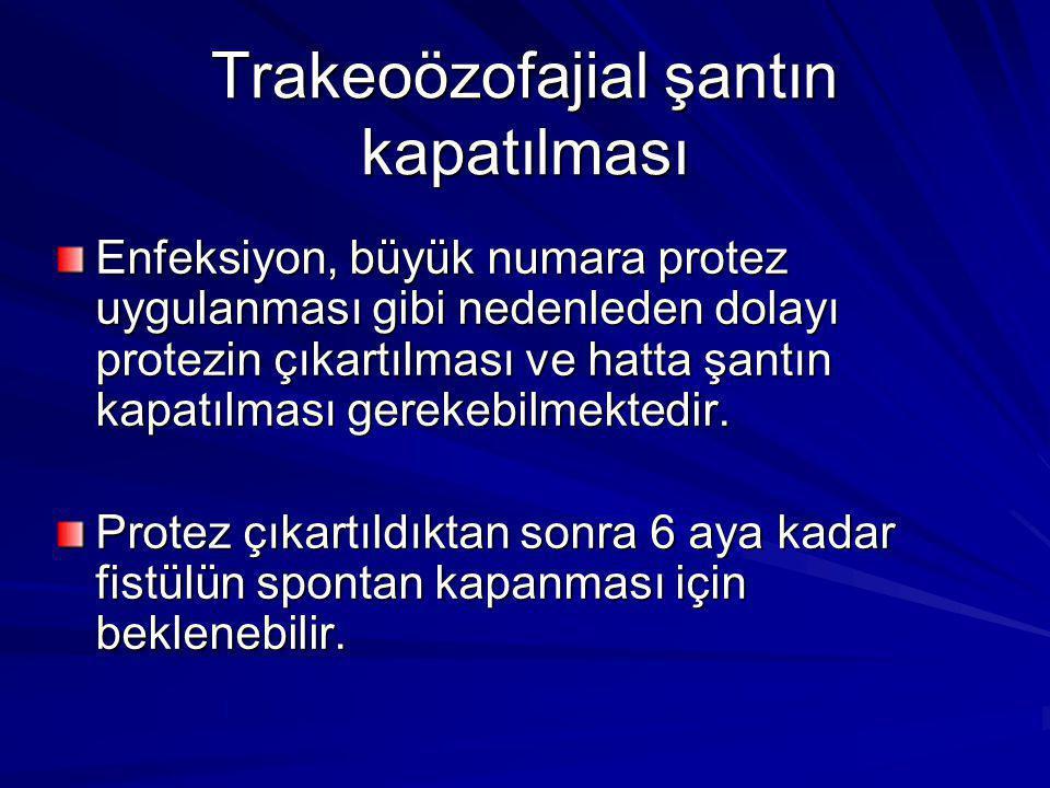 Trakeoözofajial şantın kapatılması
