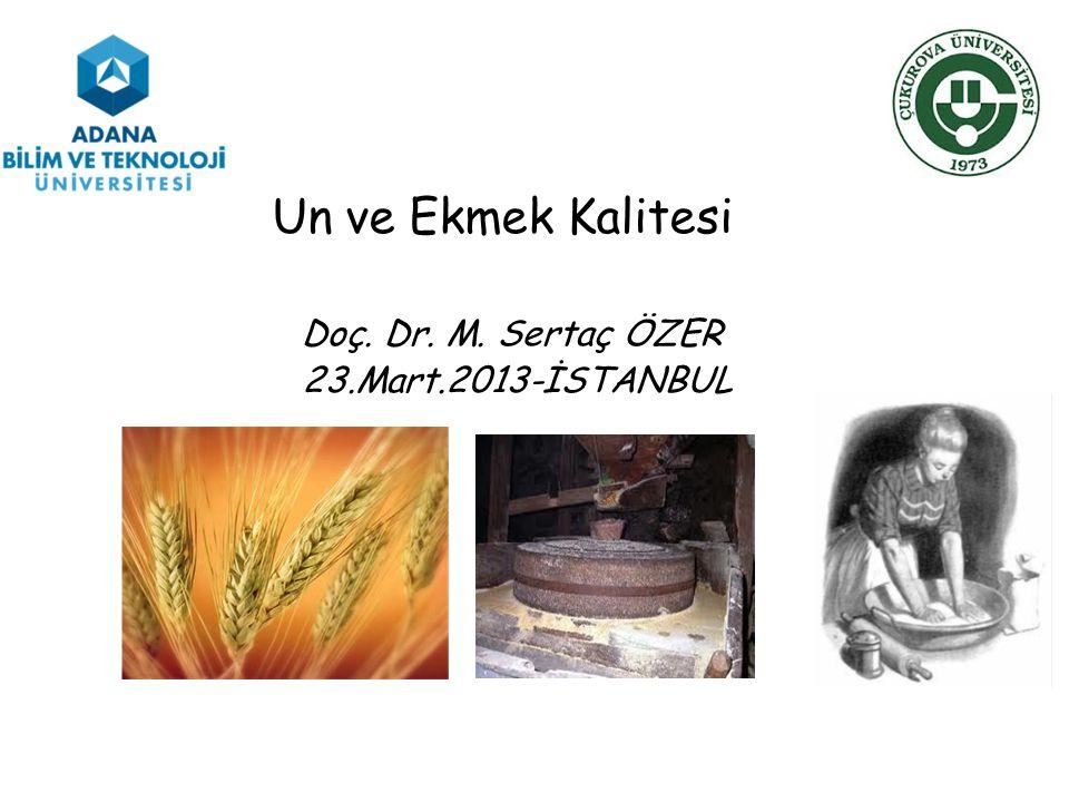Un ve Ekmek Kalitesi Doç. Dr. M. Sertaç ÖZER 23.Mart.2013-İSTANBUL