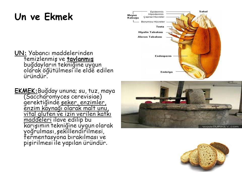 Un ve Ekmek UN: Yabancı maddelerinden temizlenmiş ve tavlanmış buğdayların tekniğine uygun olarak öğütülmesi ile elde edilen üründür.