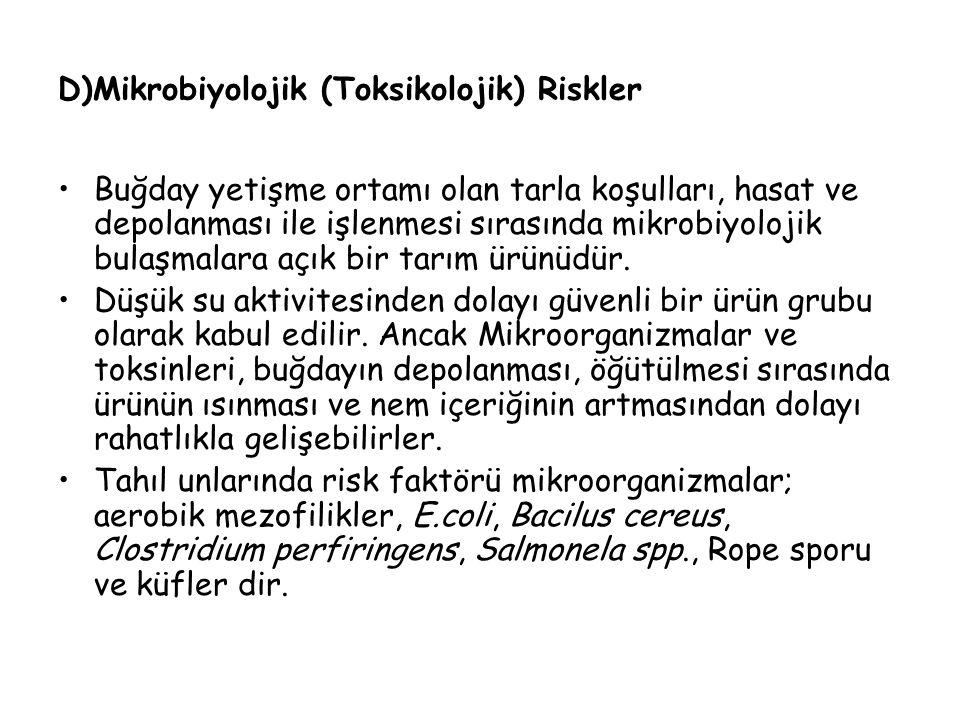 D)Mikrobiyolojik (Toksikolojik) Riskler