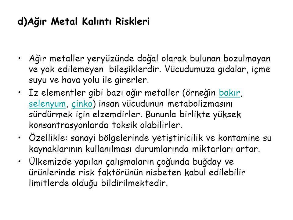 d)Ağır Metal Kalıntı Riskleri