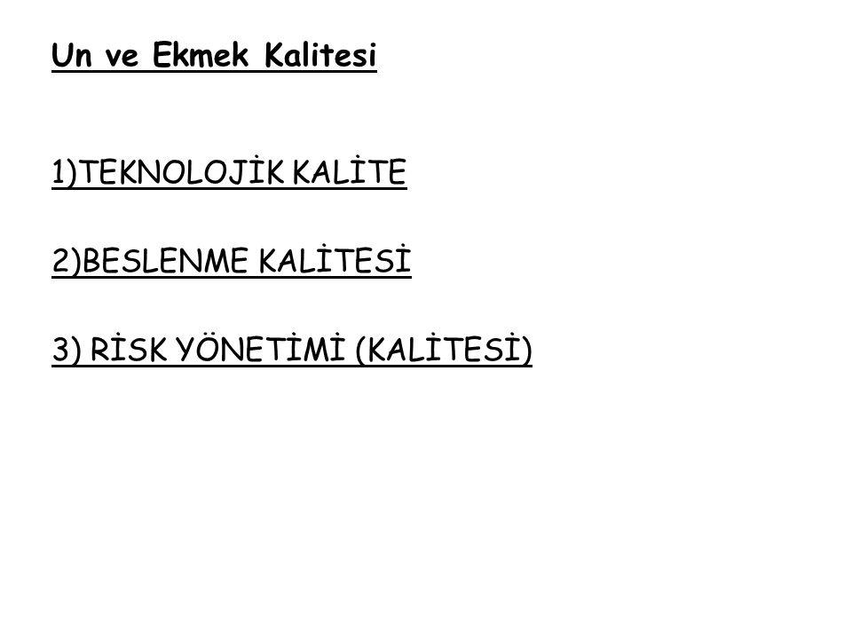 Un ve Ekmek Kalitesi 1)TEKNOLOJİK KALİTE 2)BESLENME KALİTESİ