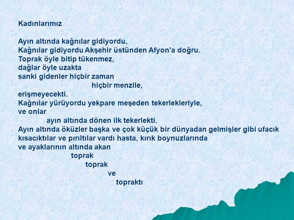 Kadınlarımız Ayın altında kağnılar gidiyordu, Kağnılar gidiyordu Akşehir üstünden Afyon a doğru.