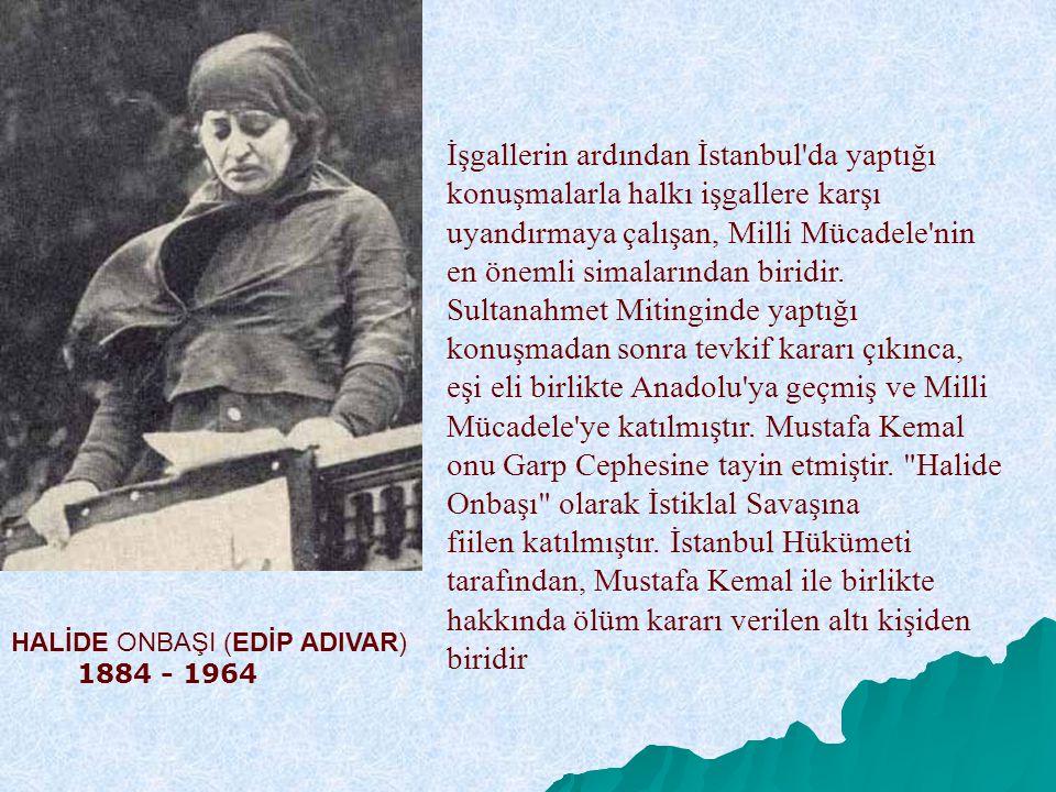 İşgallerin ardından İstanbul da yaptığı konuşmalarla halkı işgallere karşı uyandırmaya çalışan, Milli Mücadele nin en önemli simalarından biridir. Sultanahmet Mitinginde yaptığı konuşmadan sonra tevkif kararı çıkınca, eşi eli birlikte Anadolu ya geçmiş ve Milli Mücadele ye katılmıştır. Mustafa Kemal onu Garp Cephesine tayin etmiştir. Halide Onbaşı olarak İstiklal Savaşına