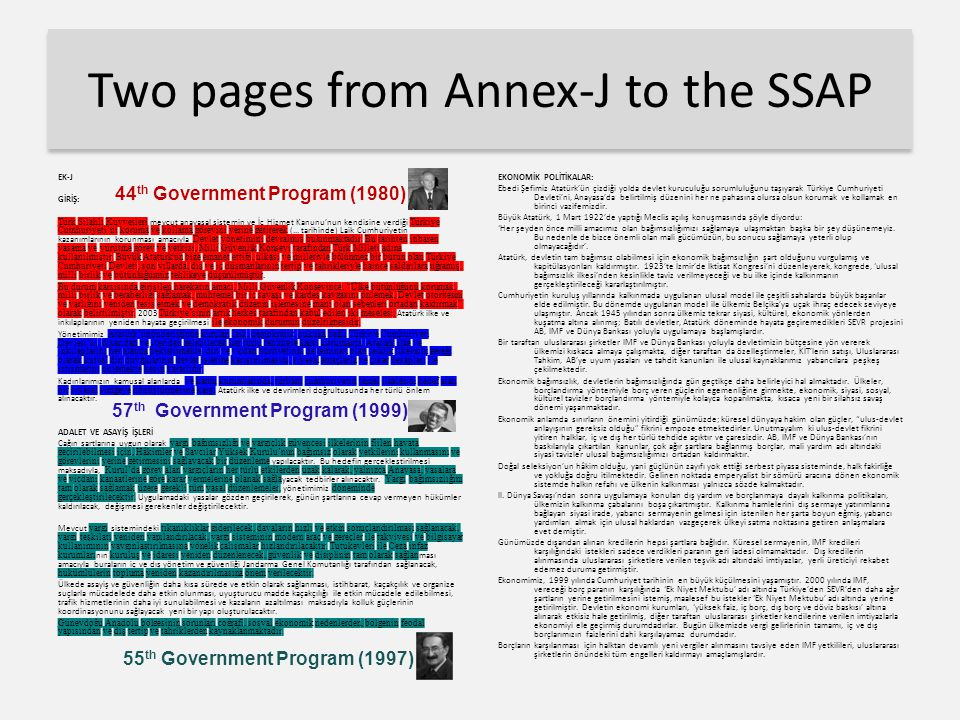 Two pages from Annex-J to the SSAP