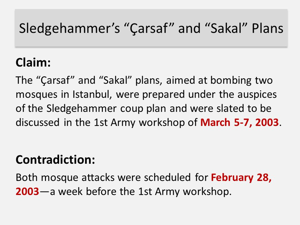 Sledgehammer's Çarsaf and Sakal Plans
