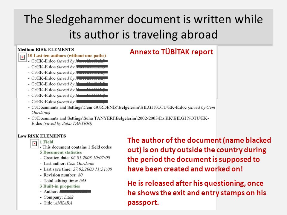 The Sledgehammer document is written while its author is traveling abroad