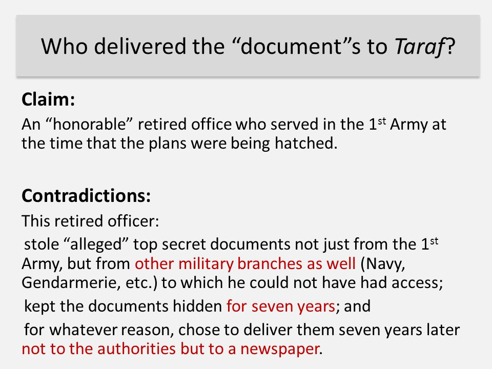 Who delivered the document s to Taraf