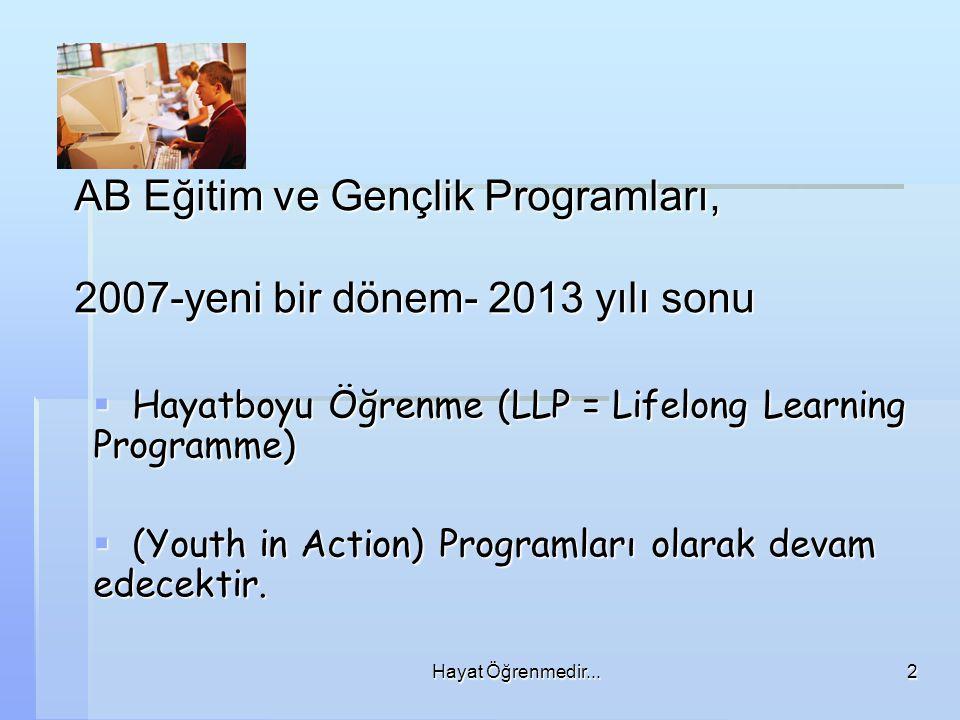 AB Eğitim ve Gençlik Programları, 2007-yeni bir dönem- 2013 yılı sonu