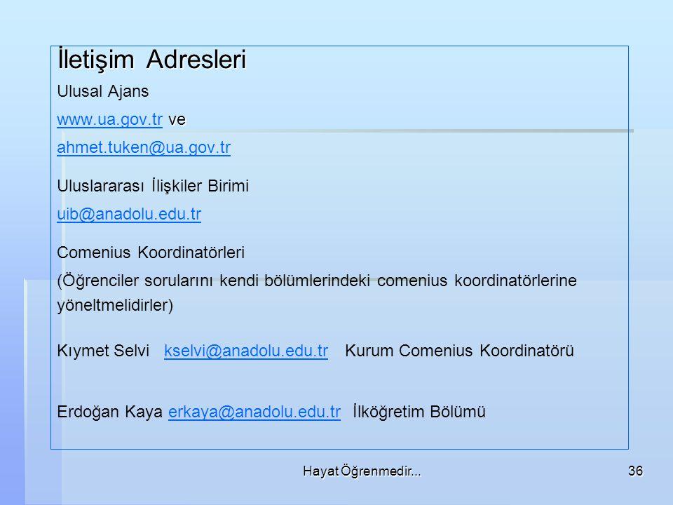 İletişim Adresleri Ulusal Ajans www.ua.gov.tr ve ahmet.tuken@ua.gov.tr