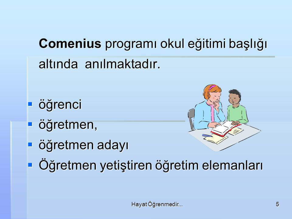 Comenius programı okul eğitimi başlığı altında anılmaktadır.