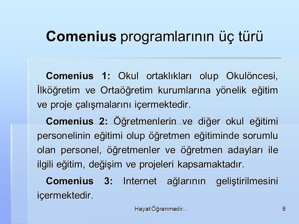 Comenius programlarının üç türü