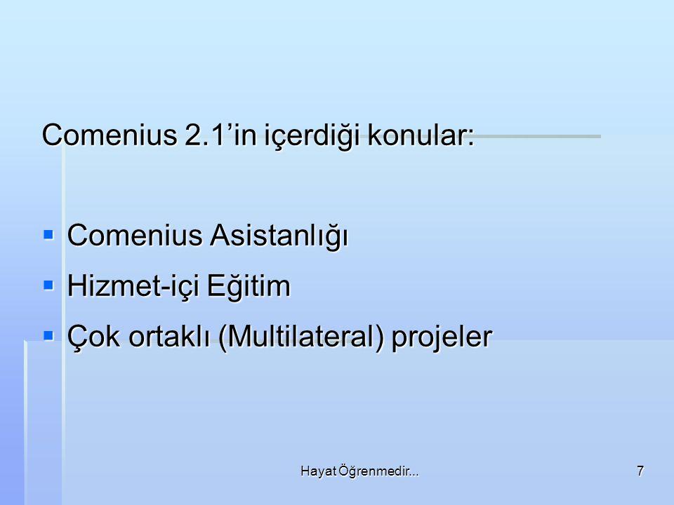 Comenius 2.1'in içerdiği konular: