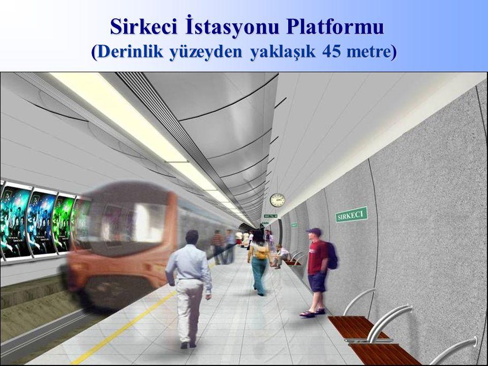 Sirkeci İstasyonu Platformu (Derinlik yüzeyden yaklaşık 45 metre)