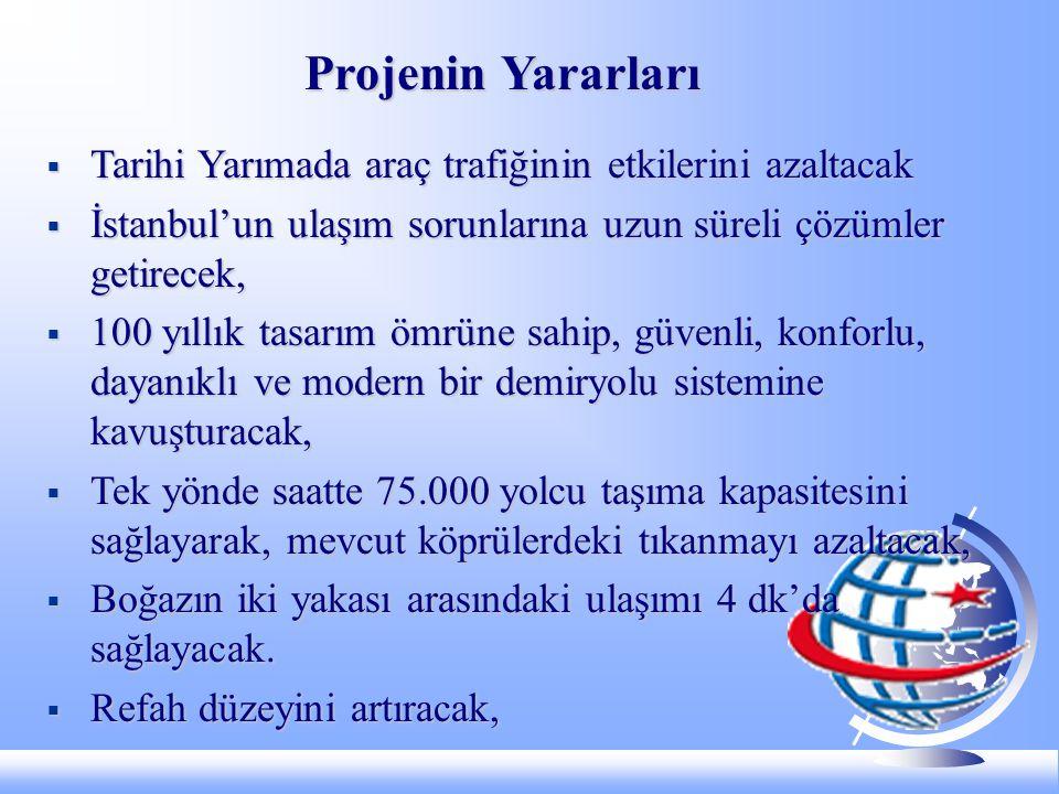 Projenin Yararları Tarihi Yarımada araç trafiğinin etkilerini azaltacak. İstanbul'un ulaşım sorunlarına uzun süreli çözümler getirecek,