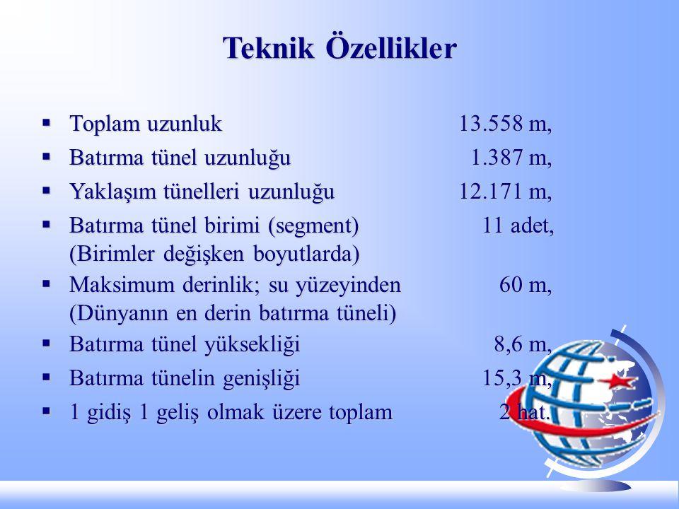 Teknik Özellikler Toplam uzunluk 13.558 m,
