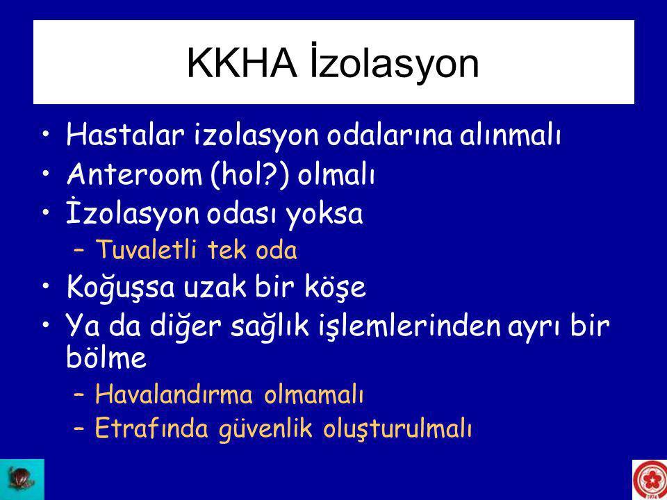 KKHA İzolasyon Hastalar izolasyon odalarına alınmalı