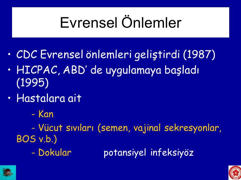 Evrensel Önlemler CDC Evrensel önlemleri geliştirdi (1987)