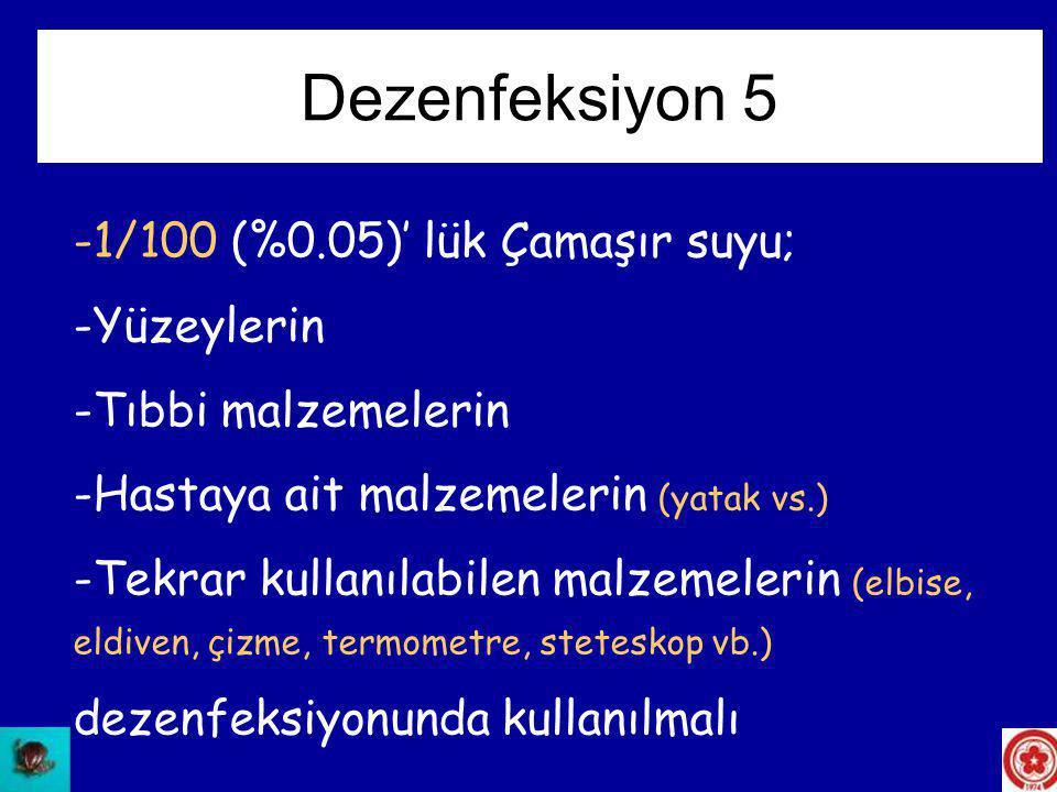 Dezenfeksiyon 5 1/100 (%0.05)' lük Çamaşır suyu; Yüzeylerin