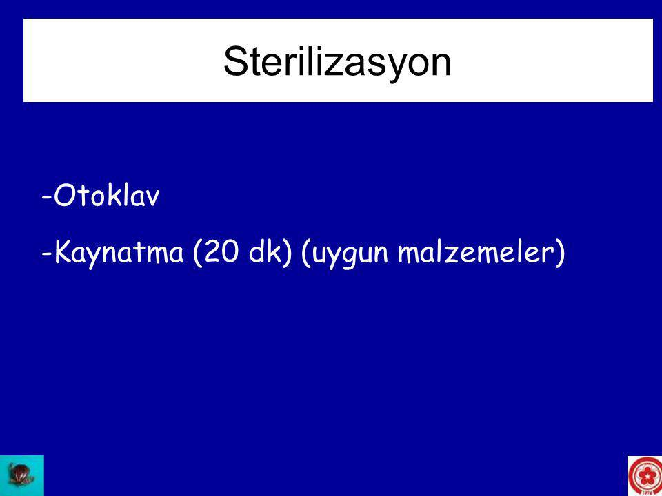 Sterilizasyon Otoklav Kaynatma (20 dk) (uygun malzemeler)