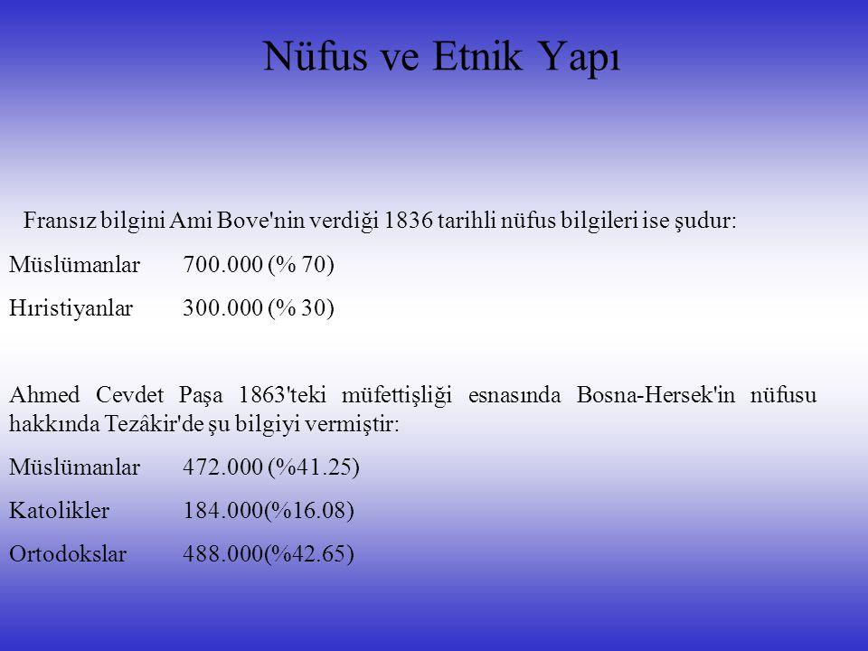 Nüfus ve Etnik Yapı Fransız bilgini Ami Bove nin verdiği 1836 tarihli nüfus bilgileri ise şudur: Müslümanlar 700.000 (% 70)