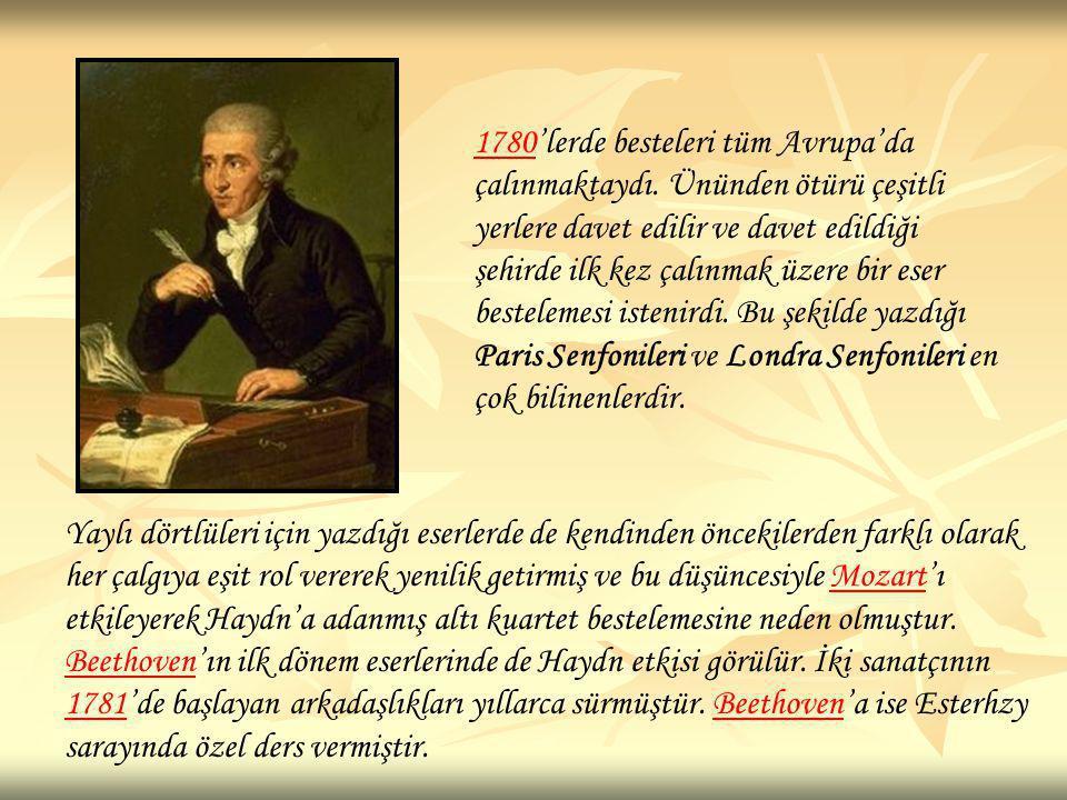 1780'lerde besteleri tüm Avrupa'da çalınmaktaydı