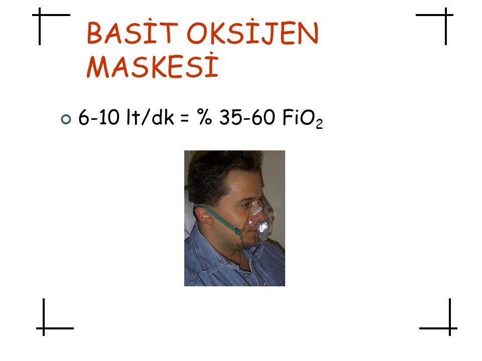 BASİT OKSİJEN MASKESİ 6-10 lt/dk = % 35-60 FiO2