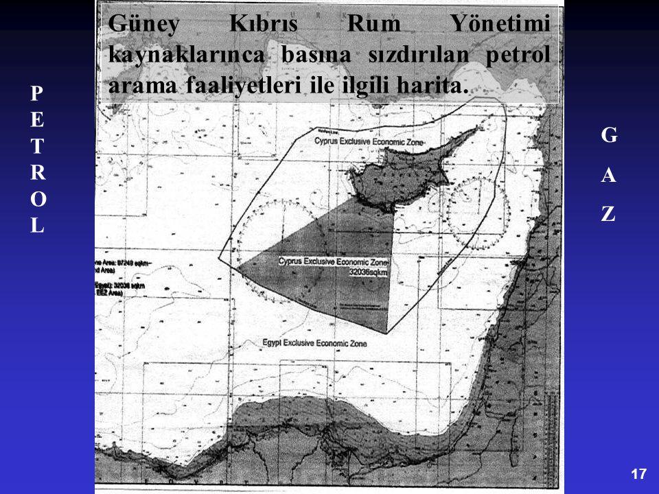 Güney Kıbrıs Rum Yönetimi kaynaklarınca basına sızdırılan petrol arama faaliyetleri ile ilgili harita.
