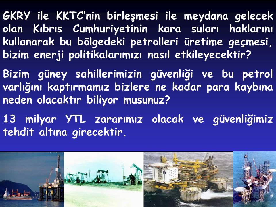 GKRY ile KKTC'nin birleşmesi ile meydana gelecek olan Kıbrıs Cumhuriyetinin kara suları haklarını kullanarak bu bölgedeki petrolleri üretime geçmesi, bizim enerji politikalarımızı nasıl etkileyecektir