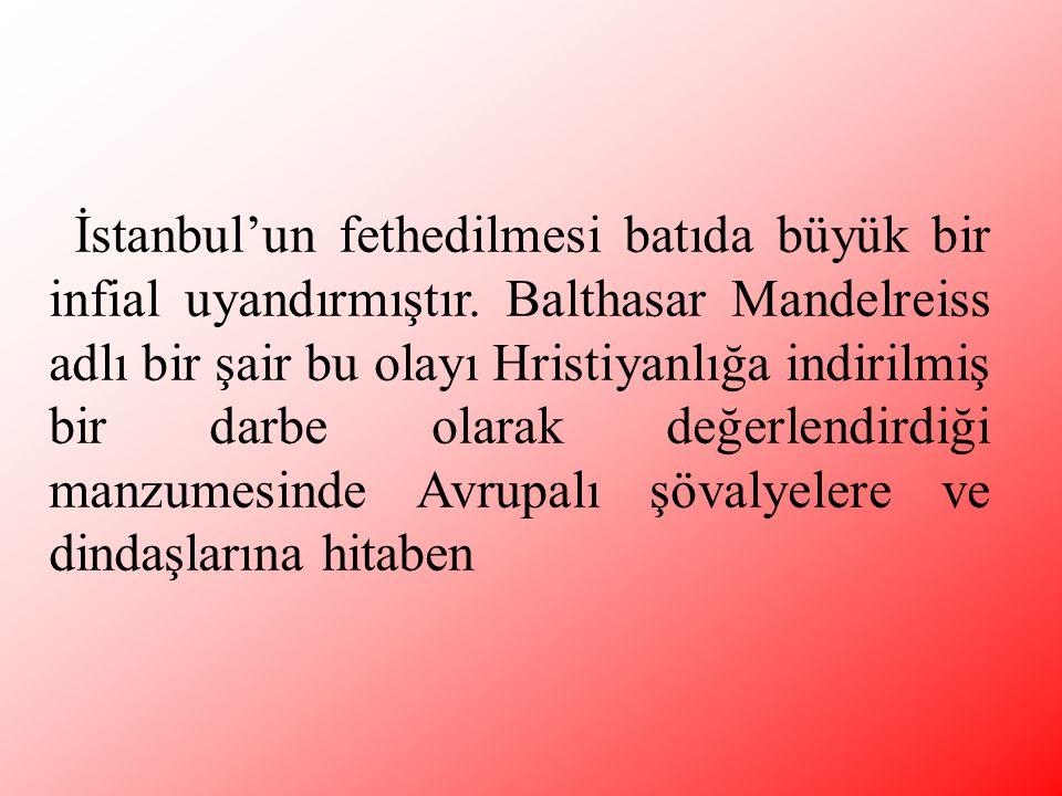 İstanbul'un fethedilmesi batıda büyük bir infial uyandırmıştır