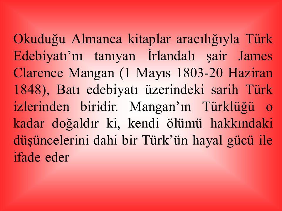 Okuduğu Almanca kitaplar aracılığıyla Türk Edebiyatı'nı tanıyan İrlandalı şair James Clarence Mangan (1 Mayıs 1803-20 Haziran 1848), Batı edebiyatı üzerindeki sarih Türk izlerinden biridir.