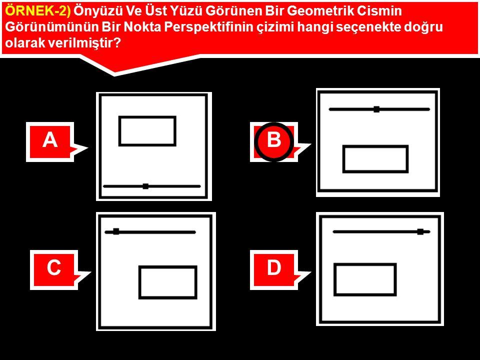 ÖRNEK-2) Önyüzü Ve Üst Yüzü Görünen Bir Geometrik Cismin Görünümünün Bir Nokta Perspektifinin çizimi hangi seçenekte doğru olarak verilmiştir