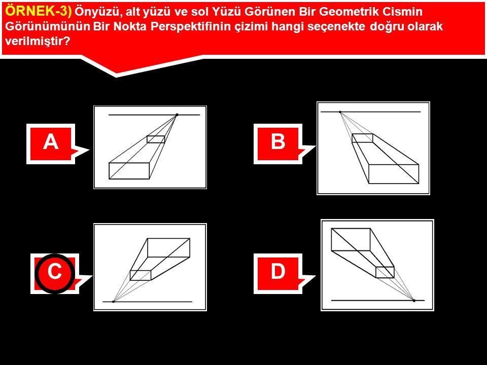 ÖRNEK-3) Önyüzü, alt yüzü ve sol Yüzü Görünen Bir Geometrik Cismin Görünümünün Bir Nokta Perspektifinin çizimi hangi seçenekte doğru olarak verilmiştir