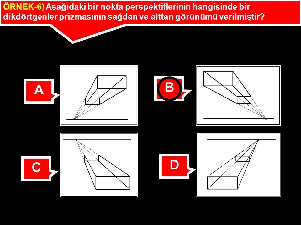 ÖRNEK-6) Aşağıdaki bir nokta perspektiflerinin hangisinde bir dikdörtgenler prizmasının sağdan ve alttan görünümü verilmiştir