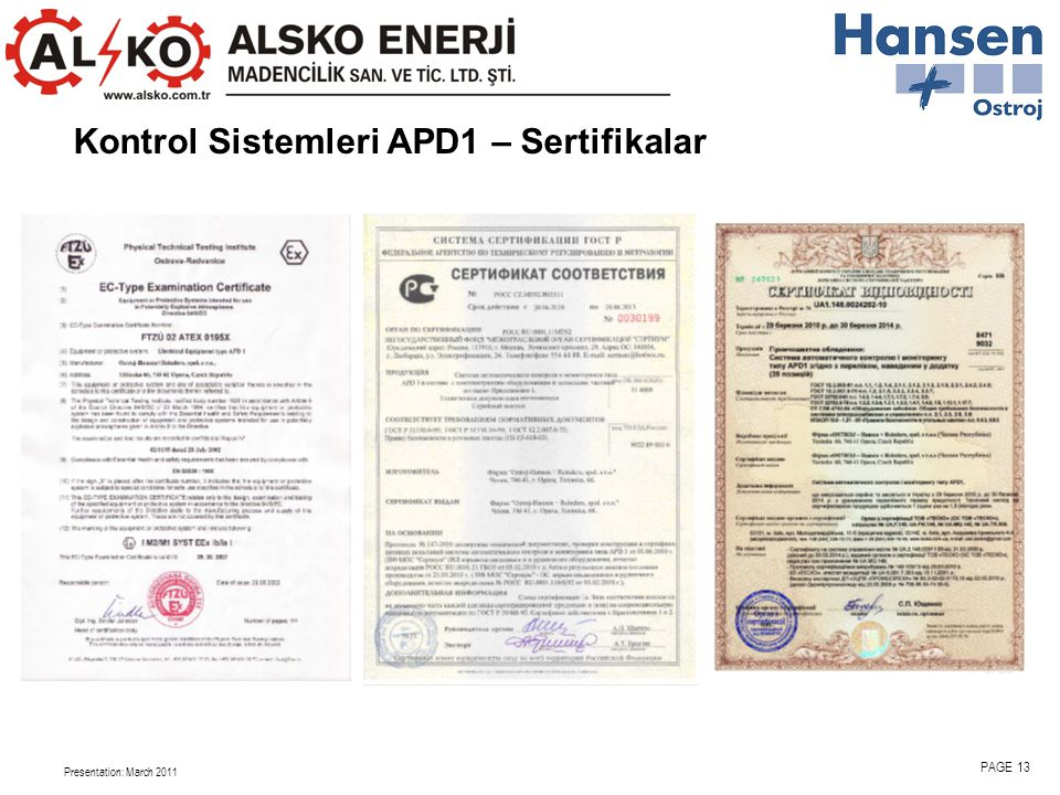 Kontrol Sistemleri APD1 – Sertifikalar