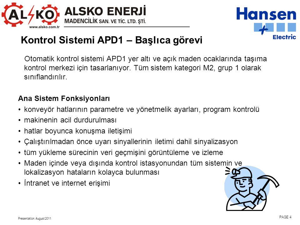 Kontrol Sistemi APD1 – Başlıca görevi