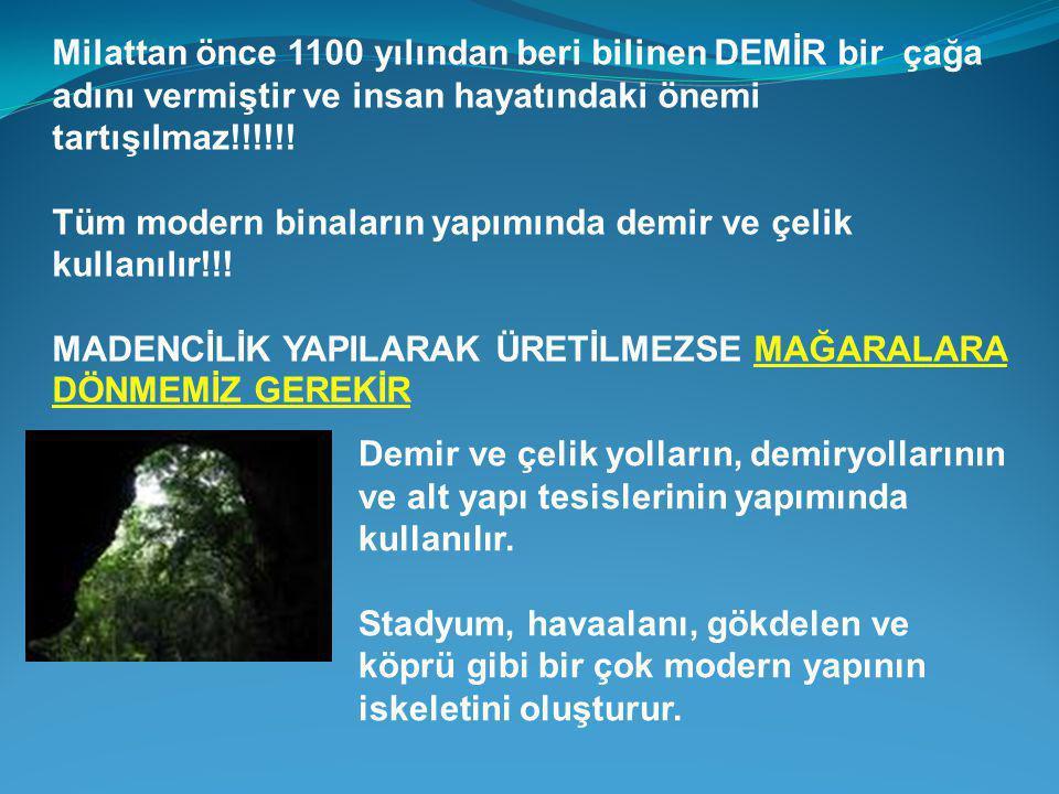 Milattan önce 1100 yılından beri bilinen DEMİR bir çağa adını vermiştir ve insan hayatındaki önemi tartışılmaz!!!!!!