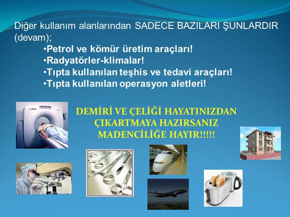 Diğer kullanım alanlarından SADECE BAZILARI ŞUNLARDIR (devam);