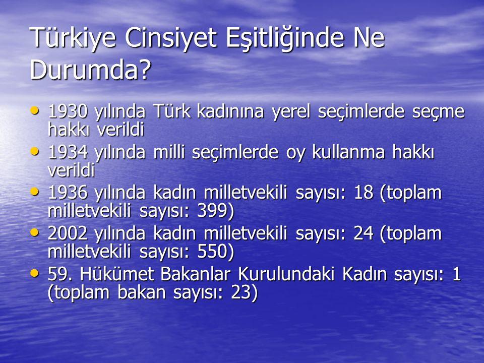Türkiye Cinsiyet Eşitliğinde Ne Durumda