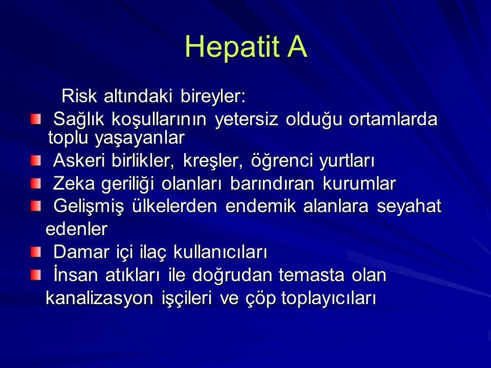 Hepatit A Risk altındaki bireyler: