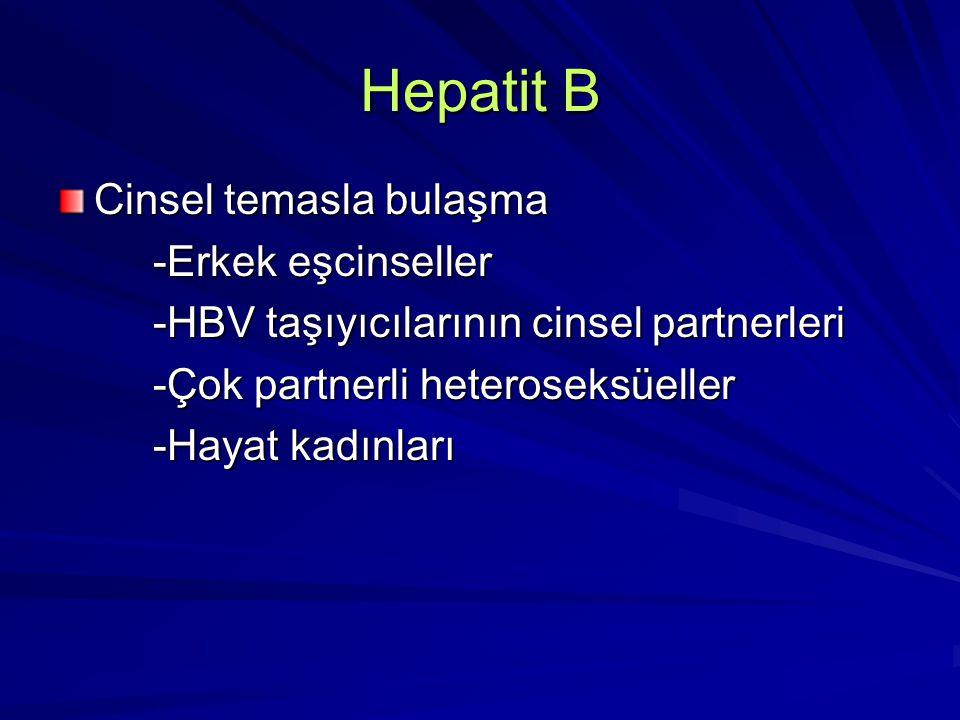 Hepatit B Cinsel temasla bulaşma -Erkek eşcinseller