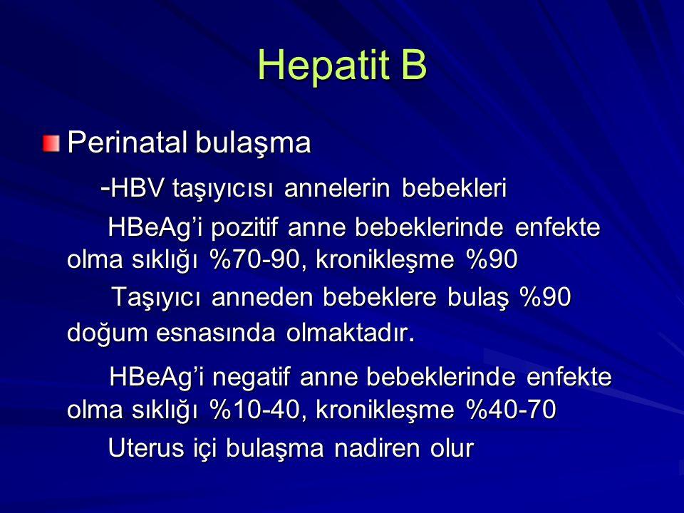 Hepatit B Perinatal bulaşma -HBV taşıyıcısı annelerin bebekleri