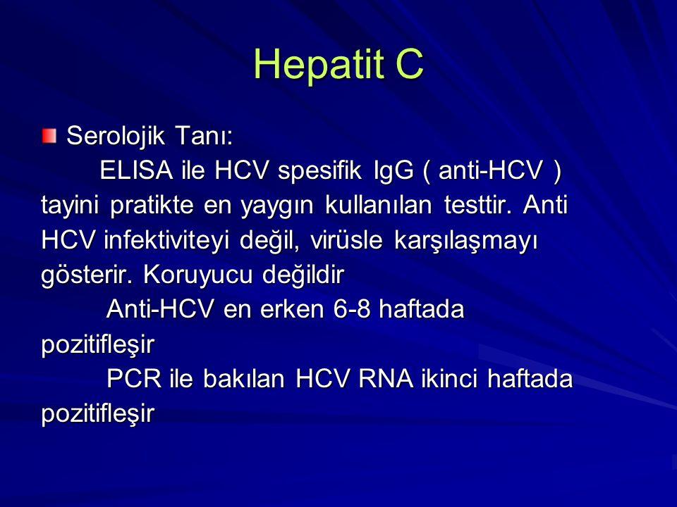 Hepatit C Serolojik Tanı: ELISA ile HCV spesifik IgG ( anti-HCV )